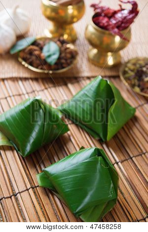 Nasi lemak, popular traditional Malaysian food wrapped with banana leaf.