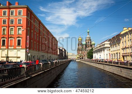 ST.PETERSBURG, RUSSIA - JUNE 22: Griboyedov Canal Embankment, June 22, 2013, St. Petersburg, Russia. Canal constructed in 1739 on the basis of the existing river Krivusha. In 1764-1790 was deepened.