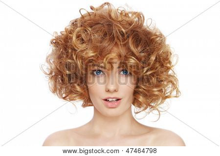 Young beautiful happy sexy woman with curly hair over white background