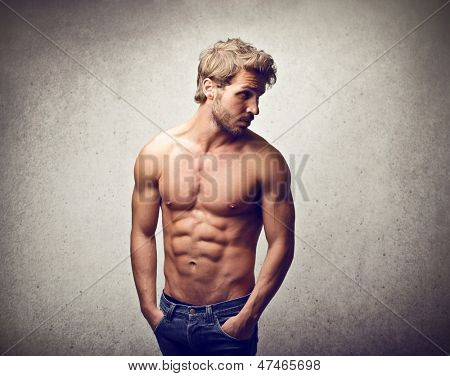handsome man with muscular physique