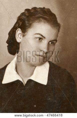 CZESTOCHOWA, POLAND, CIRCA 1933 - vintage portrait of unidentified woman, Czestochowa, Poland, circa 1933