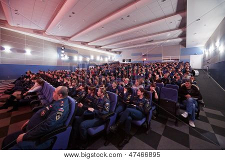MOSCOW - NOV 27: Instructors and cadets of Academy of State Fire Service Emergency of Russia in hall during semifinal of game of Club of cheerful and sharp-witted, November 27, 2012, Moscow, Russia.