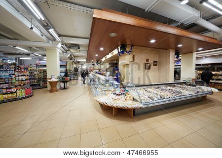 MOSCOW - DEC 8: Department of convenience foods in supermarket of home food Bahetle, December 8, 2012, Moscow, Russia.