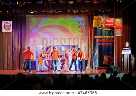 MOSCOW - NOV 27: Performance of team of Club of cheerful and sharp-witted on stage of Academy of State Fire Service Emergency of Russia during semifinal of game, November 27, 2012, Moscow, Russia.