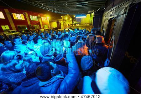 MOSCOW - NOV 23: People at entrance of Arma Music Hall before beginning of Arash show, November 23, 2012, Moscow, Russia.
