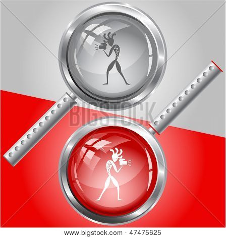 Ethnic little man with camera. Vector magnifying glass.