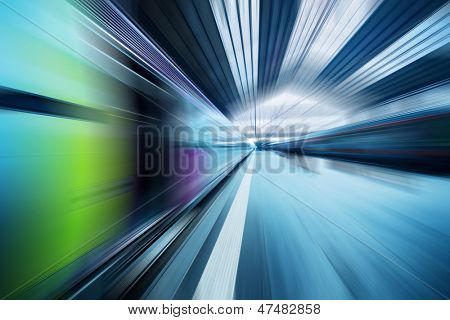 Abstract dynamic transportation blue background. Radial motion blur effect.