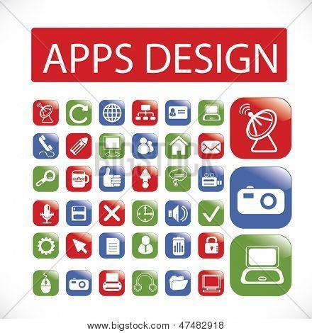 apps, mobile Schnittstelle, Anwendung, Web-Design-Ikonen, Zeichen setzen, Vektor