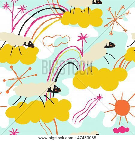 Incredibly energetic sheep running among the clouds. Vector seamless pattern
