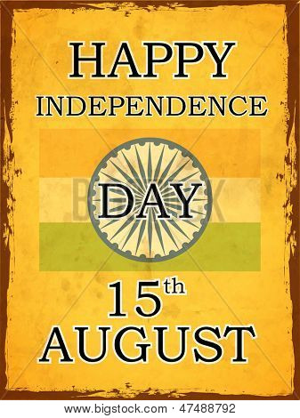 Vintage Indian Independence Day background with ashoka wheel and text 15th August.