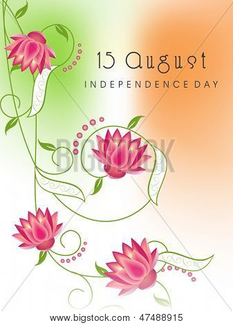 Indian Independence Day concept with flowers on national flag tricolors background.