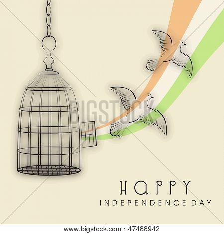 Indian Independence Day background with flying pigeon, freedom concept.