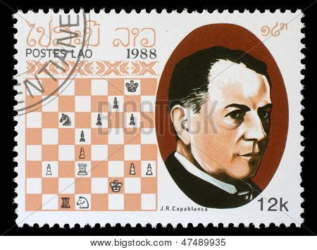 LAOS - CIRCA 1988: A stamp printed in Laos, shows J.R.Capablanca, Chess Champion, circa 1988