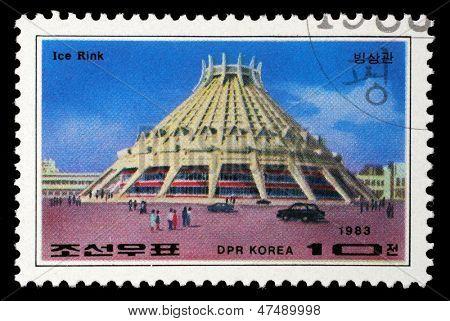 KOREA - CIRCA 1983: A stamp printed in Korea shows Pyongyang Ice Rink, circa 1983