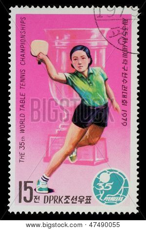 NORTH KOREA - CIRCA 1979: a stamp printed by North Korea shows ping-pong players. World table tenis championship in Pyongyang, circa 1979