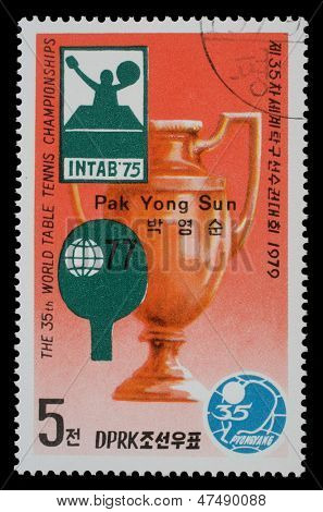 NORTH KOREA - CIRCA 1979: a stamp printed by North Korea shows World table tenis championship in Pyongyang, circa 1979