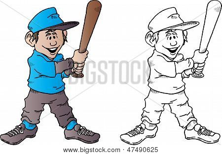 Baseball Kid With Bat