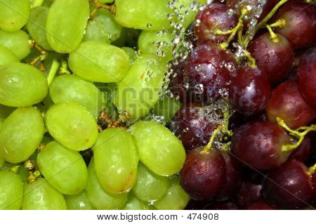 Rinsing Green And Red Grapes