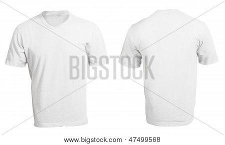 White Male's V-neck Shirt Template