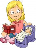 foto of doll  - Illustration of Little Kid Girl Playing with Baby Doll while Reading a Book - JPG
