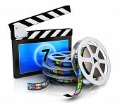 stock photo of popcorn  - Cinema movie film and video media industry production concept - JPG
