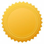 stock photo of laurel  - Blank gold seal - JPG