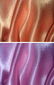 Set of 2 draped satin backgrounds - peachy and lilac