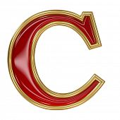 Ruby red with golden outline alphabet letter symbol - C