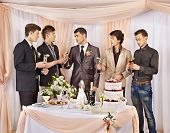 foto of bachelor party  - Group people at stage party before wedding - JPG