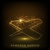 Shiny illustration of islamic religious book Quran Shareef with Stylish text Ramadan Kareem on abstr