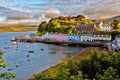 stock photo of dock  - view on Portree before sunset - JPG