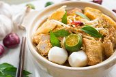 Hot and spicy Singapore Curry Noodle. A popular traditional spicy noodle soup in Malaysia and Singap