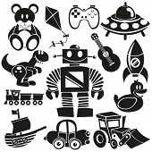image of bulldozers  - A vector set of black cartoon toys - JPG