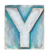 Wooden alphabet block, letter Y