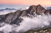 stock photo of jade  - Landscape of famous Mt Jade east peak in Taiwan in the sunset - JPG