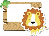 cute baby lion with wooden board