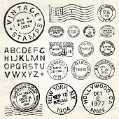 Vector Postage Stamp Set. Great for vintage designs.