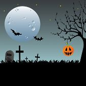 stock photo of graveyard  - Abstract colorful background with a Halloween pumpkin hanging from a tree - JPG