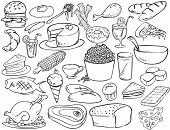 stock photo of bagel  - vector illustration of foods and beverages doodle style - JPG
