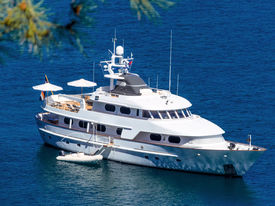 foto of outboard  - motor yacht on the sea - JPG