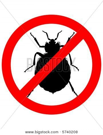 Prohibition Sign For Bedbugs On White Background