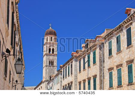 A view of a tower on the main walking street in Dubrovnik