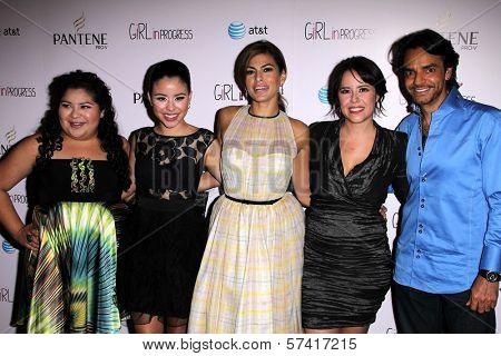 Raini Rodriguez, Cierra Ramirez, Eva Mendes, Patricia Riggen, Eugenio Derbez at the