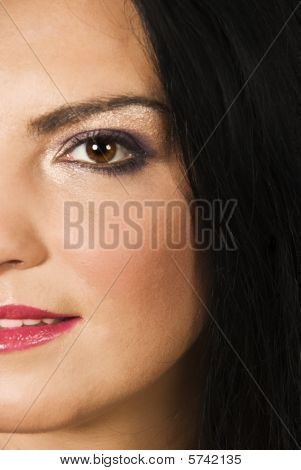 Half Face Of Beauty Woman Make Up