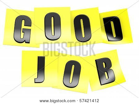 Good job in yellow note