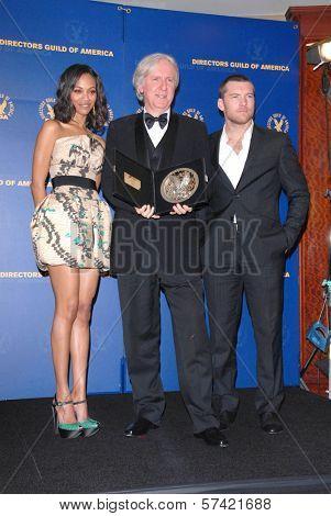 Zoe Saldana, James Cameron and Sam Worthington at the 62nd Annual DGA Awards - Press Room, Hyatt Regency Century Plaza Hotel, Century City, CA. 01-30-10