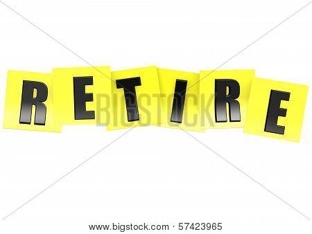 Retire in yellow note
