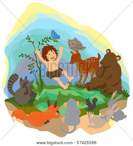A Cute Jungle Boy Is Reading Book To Animals In The Wood