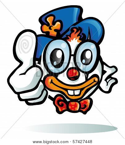 Clown Cartoon On White Background