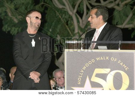 Ringo Starr and Antonio Villaraigosa  at the induction ceremony for Ringo Starr into the Hollywood Walk of Fame, Hollywood, CA. 02-08-10